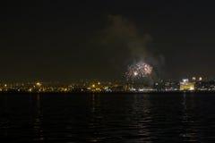 Saloniki, Grecja nowy rok wigilii 2017 fajerwerki Zdjęcie Stock