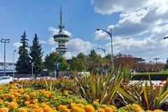 SALONIKI GRECJA, WRZESIEŃ, - 30, 2017: OTE kwiaty w przodzie w mieście Saloniki i wierza, Środkowy Macedonia Zdjęcie Stock