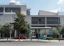 Saloniki Grecja, Wrzesień, - 04 2016: Saloniki urzędu miasta jawna autobusowa przerwa Zdjęcie Stock