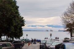 Saloniki, Griechenland - 17. Dezember 2017 - Straße in im Stadtzentrum gelegenem Saloniki, Griechenland Lizenzfreies Stockbild