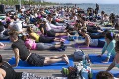 Saloniki joga otwarty dzień Ludzie zbierający wykonywać joga trai Obraz Stock