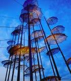 Saloniki-Regenschirme in der Dämmerung Lizenzfreie Stockfotos