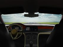 Salonsportauto-Business-Class-Reise zum Flughafen 3d übertragen stock abbildung