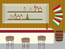 Saloon. Indoor of bar, saloon or cantina in old western vector illustration