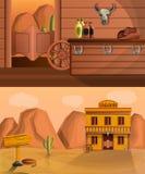 Saloon banner set, cartoon style stock illustration