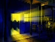 Saloon entrance at night. View of the entrance of the saloon of a vintage western town at night. A horse is waiting outside royalty free illustration