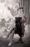 Saloon girl drinking royalty free stock photography