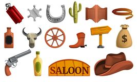 Saloon icon set, cartoon style royalty free illustration
