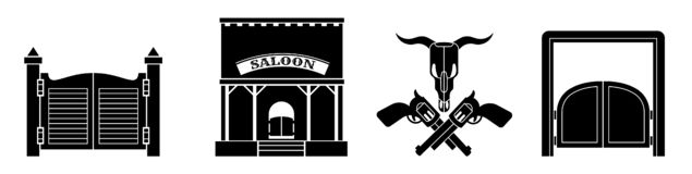 Saloon icon set, simple style royalty free illustration