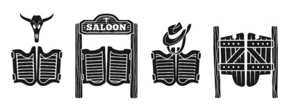 Saloon icons set, simple style royalty free illustration