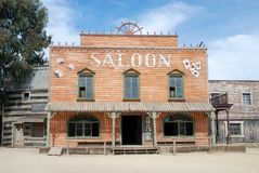 Saloon in an old American town Stock Image