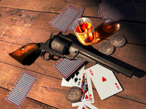 Saloon players. Interior of an old western saloon. On a wooden table, a revolver, Remington 1858 model, playing cards,  some 1851 united states coins, and a Royalty Free Stock Images