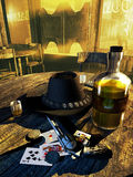 Saloon players. Interior of a western saloon. On a wooden table, a revolver, playing cards, a hat, some coins, a bottle and glasses of whisky Royalty Free Stock Image