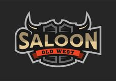 Saloon, tavern, wild west logo, emblem. Saloon, tavern, wild west logo, emblem on a dark background stock illustration
