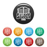 Saloon texas icons set color vector illustration