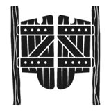 Saloon wood doors icon, simple style stock illustration