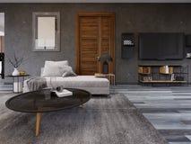 Salotto accogliente nello stile di un sottotetto con un supporto della TV, un'immagine sulla parete e un sofà con una tavola dell royalty illustrazione gratis