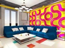 Salotto con un sofà nell'appartamento Immagini Stock Libere da Diritti