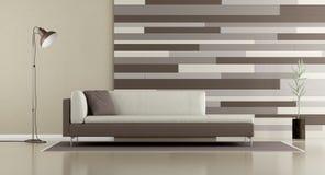 Salotto contemporaneo con il sofà ed il pannello decorativo illustrazione di stock