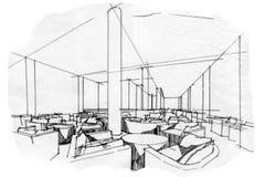 ... ingresso di prospettiva di schizzo, interior design in bianco e nero