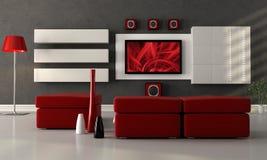 Salotto moderno con lo schermo piano TV Immagine Stock