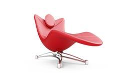 Salotto rosso del chaise sopra bianco Fotografie Stock