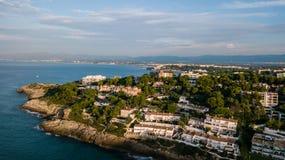 Salou, пляж Dorada Косты Гостиницы и курорты Назначение перемещения в Испании стоковое изображение