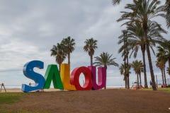 Salou beach text. SALOU, SPAIN - MARCH 04, 2018: Colorful text in Llevant beach in Salou, a major tourist destination at summer, in the Catalan Costa Dorada Royalty Free Stock Photo
