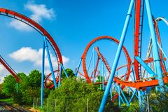Salou, Catalonia Spain - April 24, 2018: Attraction park Port Aventura, one of the biggest entertaining park in Europe. The bottom stock photo