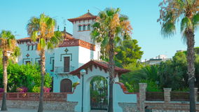Salou, Costa Daurada in Spain, beautiful Spanish house establishing shot. Costa Daurada in Catalonia, Spain, shot in RAW 4K stock video footage