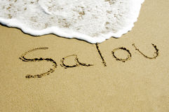 Salou, Spain. Salou (Spain) written on the sand of a beach Royalty Free Stock Photos