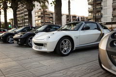 SALOU, SPAIN - JUNE 17, 2017: Smart City Coupe on a city street. SALOU, SPAIN - JUNE 17, 2017: Smart City Coupe on the city street. Exhibition of cars Stock Photo