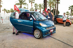 SALOU, SPAIN - JUNE 17, 2017: Smart City Coupe on a city street. SALOU, SPAIN - JUNE 17, 2017: Smart City Coupe on the city street. Exhibition of cars Royalty Free Stock Image