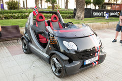 SALOU, SPAIN - JUNE 17, 2017: Smart City Coupe on a city street. Royalty Free Stock Photo