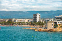 Salou, Tarragona, Spain - 06/13/2016. View to the main beach of. Town, main season Stock Photography