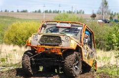 SALOVKA, RUSSIA - MAY 5, 2017: Annual off-road racing on off-road vehicles at the annual competition `Trofi rubezh 2017 Stock Photography
