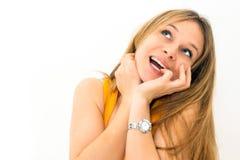 salowy portret myśląca kobieta Zdjęcia Royalty Free