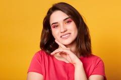Salowy strzał piękna brunetki kobieta z menchiami i pomarańcze barwi makeup odizolowywającego nad żółtym tłem, patrzeje kamerę obrazy royalty free