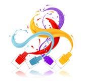 Salpica de los esmaltes de uñas coloridos vertidos de las botellas libre illustration
