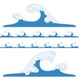 Salpica de ondas del mar Tsunami, ondas inconsútiles del azul libre illustration