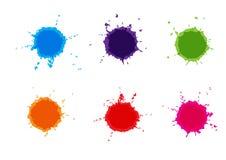 Salpicaduras coloridas de la pintura del vector Pinte salpica el sistema Vector Illust foto de archivo libre de regalías