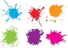 Salpicaduras coloridas de la pintura Pinte salpica el sistema Ilustración del vector imagen de archivo
