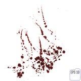 Salpicaduras de la sangre aisladas en blanco Trayectoria de recortes ilustración del vector