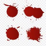 Salpicaduras de la sangre y sistema realistas de las gotas de sangre Salpique la tinta roja Ejemplo aislado en fondo transparente stock de ilustración