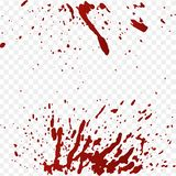 Salpicaduras de la sangre y sistema realistas de las gotas de sangre Salpique la tinta roja Ejemplo aislado en fondo transparente ilustración del vector