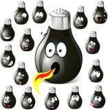 Desenhos animados do abanador da pimenta com muitas expressões Fotografia de Stock