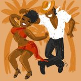 Salsa. Man and woman dancing salsa fiery Royalty Free Stock Photo