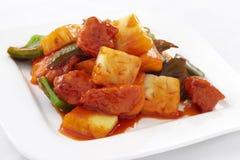 Salsa agrodolce fritta con carne Fotografie Stock Libere da Diritti