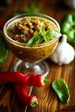 Salsa aguda del adzhika de diversos tipos de pimienta Fotos de archivo libres de regalías