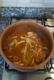Salsa al pomodoro con le acciughe cucinate in vaso di terracotta fotografia stock libera da diritti